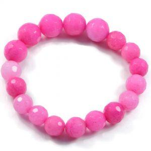 "Semi-Precious Gemstone 10-12mm Pink Agate Beads 7.3"" Stretch Bracelet on Elastic Cord"