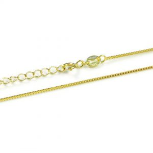 """925 Sterling Silver With 18k Gold Plated- 0.80mm- 16""""-18"""" Adjustable Box Chain."""