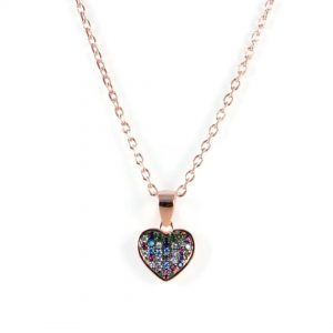 Semi-Precious Genuine Gemstone CZ Stone Heart PendantÊ925 Sterling Silver with 18k Rose Gold Plated 18Ê 16Ó-18Ó Adjustable Woman necklace.